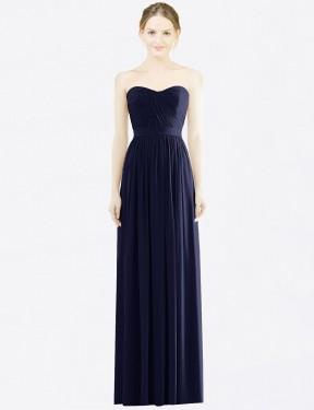 Shop Dark Navy A-Line Long Amora Bridesmaid Dress Canada