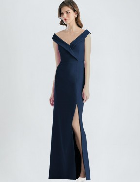 Shop Dark Navy A-Line Long Carlee Bridesmaid Dress Canada