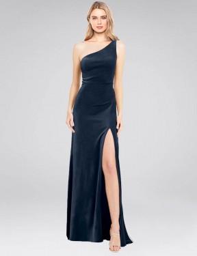 Shop Dark Navy A-Line Long Daniel Bridesmaid Dress Canada