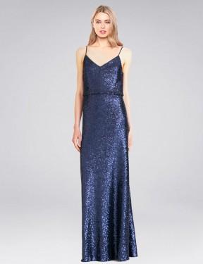 Shop Dark Navy A-Line Long Hill Bridesmaid Dress Canada