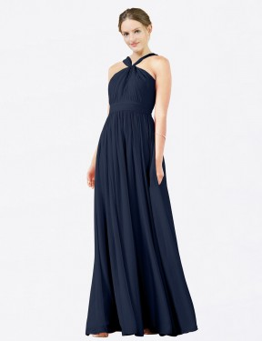 Shop Dark Navy A-Line Long Isabella Bridesmaid Dress Canada