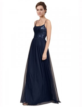 Shop Dark Navy A-Line Long Julissa Bridesmaid Dress Canada