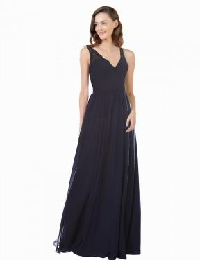 Shop Dark Navy A-Line Long Keely Bridesmaid Dress Canada