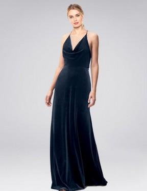 Shop Dark Navy A-Line Long Kwete Bridesmaid Dress Canada
