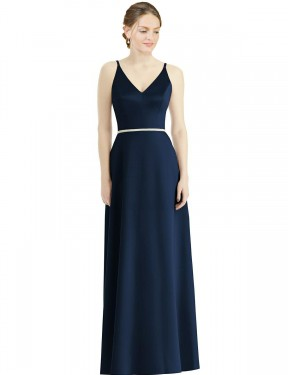 Shop Dark Navy A-Line Long Lia Bridesmaid Dress Canada