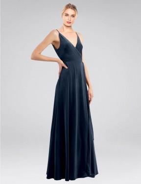 Shop Dark Navy A-Line Long Macholl Bridesmaid Dress Canada