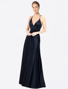 Shop Dark Navy A-Line Long Mary Bridesmaid Dress Canada