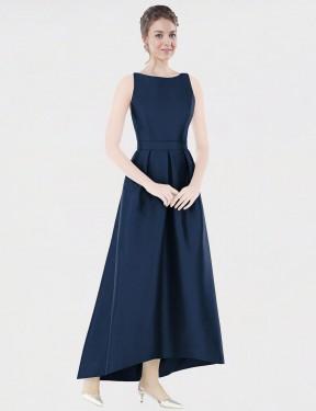 Shop Dark Navy A-Line Long Mikayla Bridesmaid Dress Canada