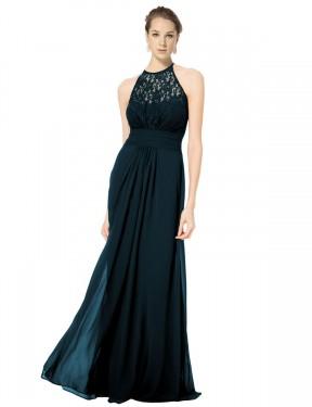 Shop Dark Navy A-Line Long Sadie Bridesmaid Dress Canada