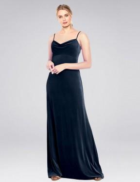Shop Dark Navy A-Line Long Saliba Bridesmaid Dress Canada