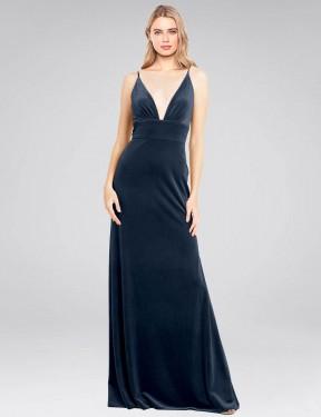 Shop Dark Navy A-Line Long Sammi Bridesmaid Dress Canada