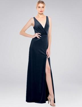 Shop Dark Navy A-Line Long Scotti Bridesmaid Dress Canada