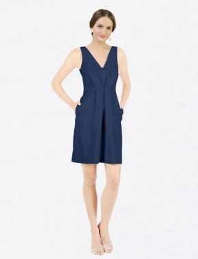 Shop Dark Navy A-Line Short Eleanor Bridesmaid Dress Canada