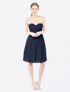 Shop Dark Navy A-Line Short Ella Bridesmaid Dress Canada