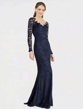 Shop Dark Navy Mermaid Fit and Flare Long Avalynn Bridesmaid Dress Canada