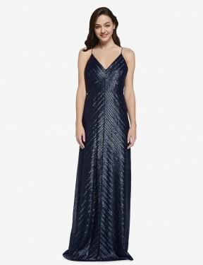 Shop Dark Navy Sheath Long Adrielle Bridesmaid Dress Canada