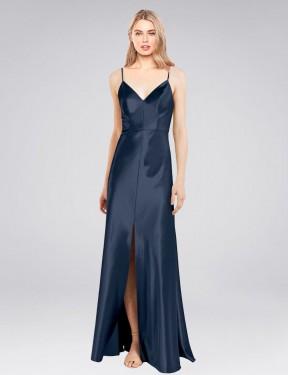 Shop Dark Navy Sheath Long Cole Bridesmaid Dress Canada