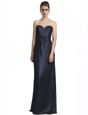Shop Dark Navy Sheath Long Lilyana Bridesmaid Dress Canada