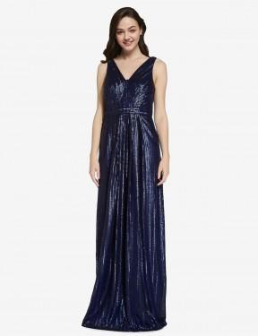 Shop Dark Navy Sheath Long Linden Bridesmaid Dress Canada
