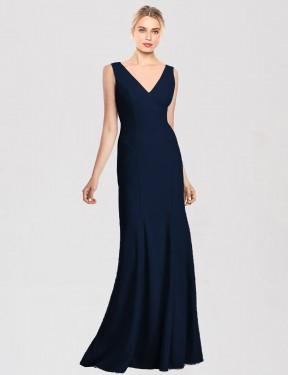 Shop Dark Navy Trumpet Long Riya Bridesmaid Dress Canada