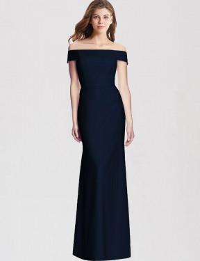 Shop Dark Navy Trumpet Long Samira Bridesmaid Dress Canada