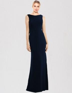 Shop Dark Navy Trumpet Long Tara Bridesmaid Dress Canada