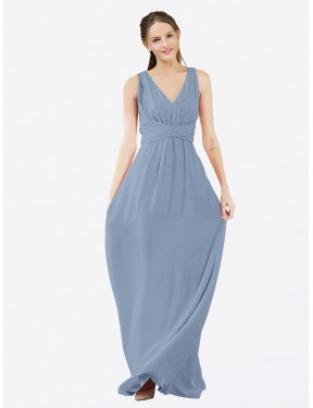 Shop Dusty Blue A-Line Long Ava Bridesmaid Dress Canada