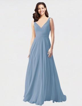 Shop Dusty Blue A-Line Long Bernice Bridesmaid Dress Canada