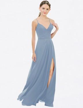 Shop Dusty Blue A-Line Long Martha Bridesmaid Dress Canada