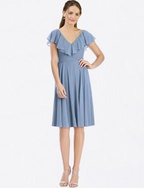 Shop Dusty Blue A-Line Short Myah Bridesmaid Dress Canada