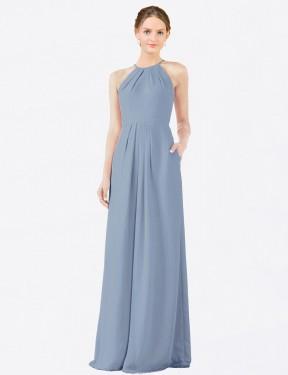 Shop Dusty Blue Sheath Long Emma Bridesmaid Dress Canada