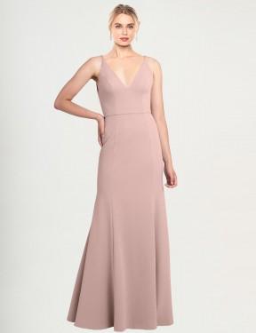 Shop Dusty Pink A-Line Long Caliste Bridesmaid Dress Canada
