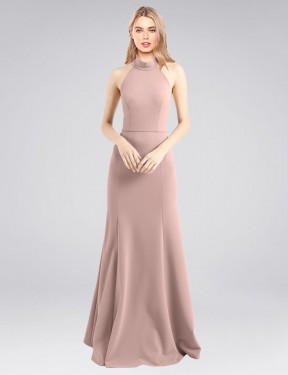Shop Dusty Pink A-Line Long Glover Bridesmaid Dress Canada