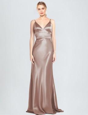 Shop Dusty Pink Sheath Long Chambers Bridesmaid Dress Canada