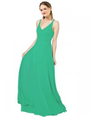 Shop Emerald Green Sheath Long Aranza Bridesmaid Dress Canada