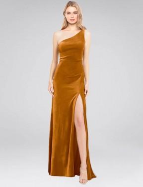 Shop Gold A-Line Long Daniel Bridesmaid Dress Canada