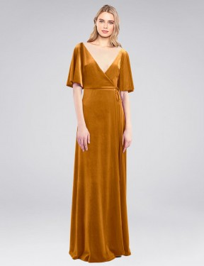 Shop Gold A-Line Long Dreher Bridesmaid Dress Canada