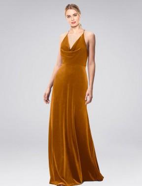 Shop Gold A-Line Long Kwete Bridesmaid Dress Canada