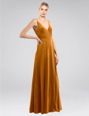 Shop Gold A-Line Long Macholl Bridesmaid Dress Canada
