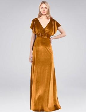 Shop Gold A-Line Long Pinto Bridesmaid Dress Canada