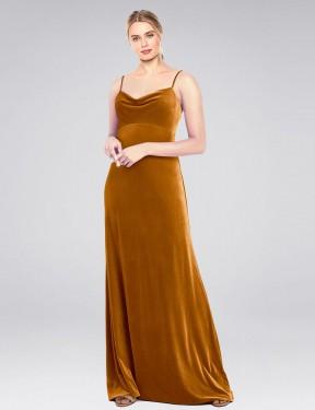 Shop Gold A-Line Long Saliba Bridesmaid Dress Canada