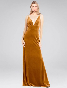 Shop Gold A-Line Long Sammi Bridesmaid Dress Canada