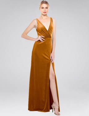 Shop Gold A-Line Long Scotti Bridesmaid Dress Canada