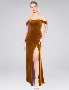 Shop Gold A-Line Long Zelaya Bridesmaid Dress Canada