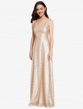 Shop Gold Sheath Long Adrielle Bridesmaid Dress Canada