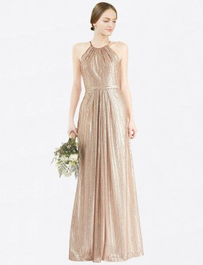 Shop Gold Sheath Long Penelope Bridesmaid Dress Canada