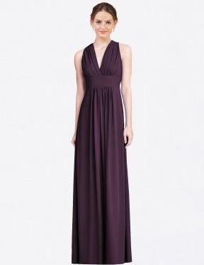 Shop Grape A-Line Long Evie Bridesmaid Dress Canada