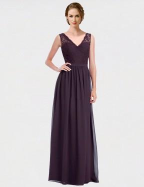 Shop Grape A-Line Long Lyanna Bridesmaid Dress Canada