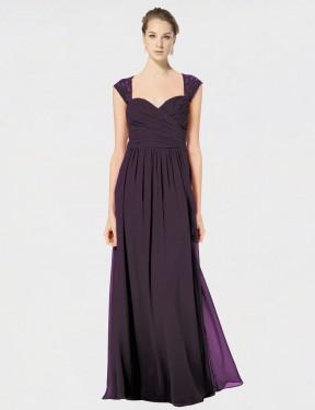 Shop Grape A-Line Long Naomi Bridesmaid Dress Canada