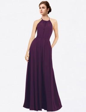 Shop Grape A-Line Long Taylor Bridesmaid Dress Canada